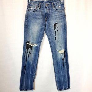 🌻 3/$25 Levi's 511 Distressed Paint Drip Jeans 32